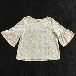 LOFT Gray Lace Pullover Top w/ Ruffle Sleeve M